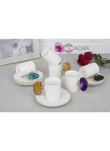 Acar Renkli Doğaltaş Kulplu Kahve Fincan 6 Lı Gold Renkli